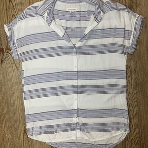 beachlunchlounge Soft Striped Button-Down Blouse